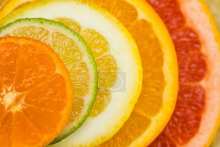 Photo for Close up view of variety of fresh citrus fruits slices - Royalty Free Image