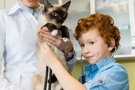 boy ausculting cat with stethoscope