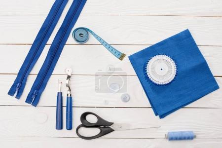 Workshop with needlework details and tools