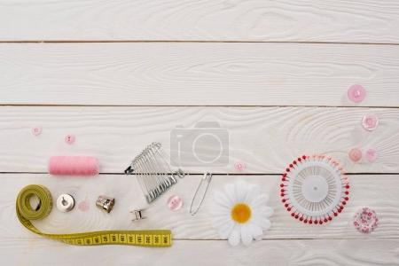Photo for Top view of workshop with needlework details and tools mock-up - Royalty Free Image