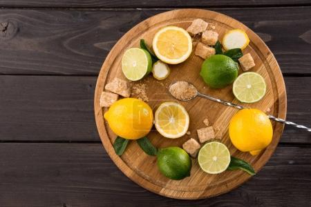 lemons and limes with brown sugar