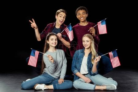teens with usa flags