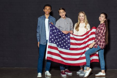 american teens with usa flag