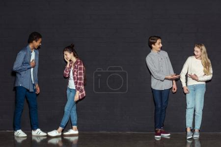 teen couples talking