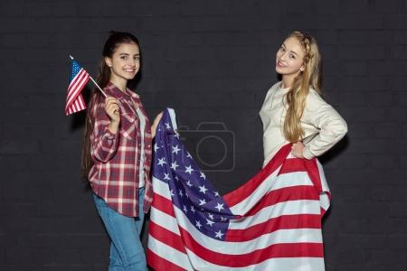 teen girls with usa flags