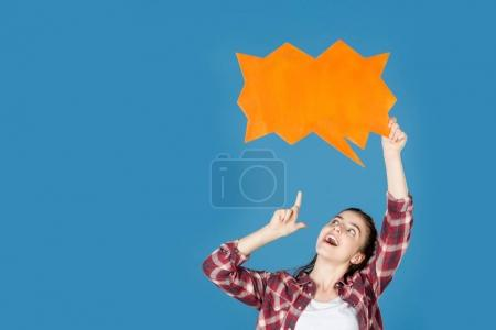 girl pointing at speech bubble