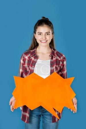 girl holding blank speech bubble