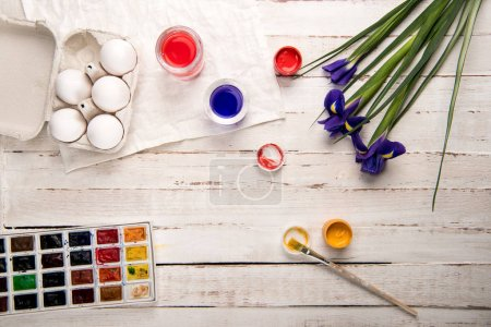 Chicken eggs and paints
