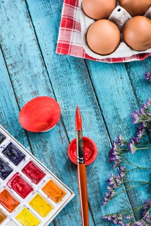eggs for coloring and paintbrush