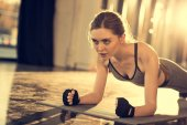 sportswoman doing plank