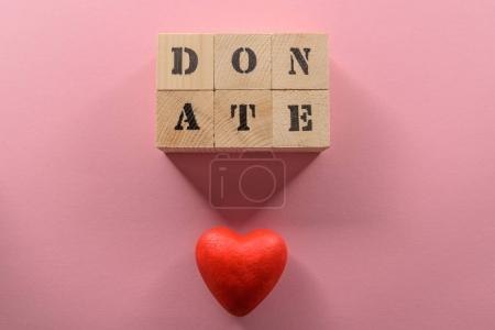 Word donate and heart symbol