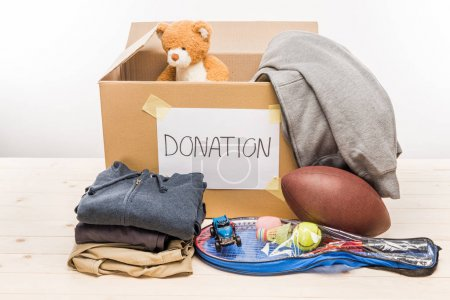 cardboard box with donation