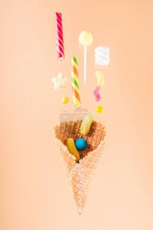 Waffle cone and candies