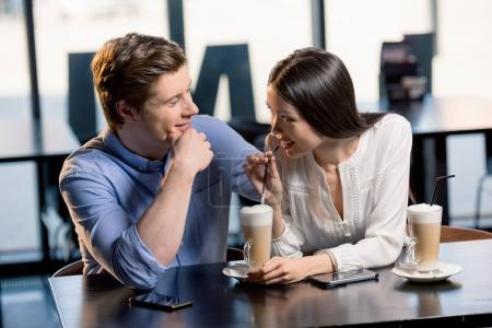 Couple in love in restaurant