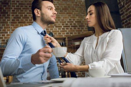 business couple having breakfast