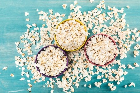 Popcorn in bowls on table
