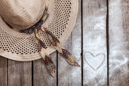 straw hat and heart sign