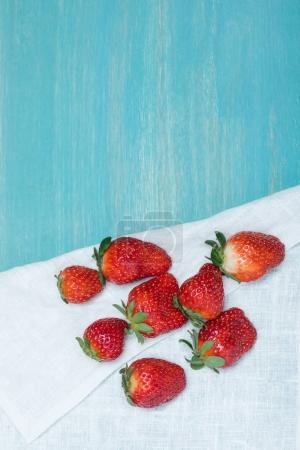 strawberries on linen napkin