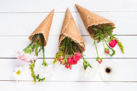 Flowers in waffle cones