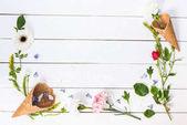 """Постер, картина, фотообои """"Цветы в вафельных шишках"""""""