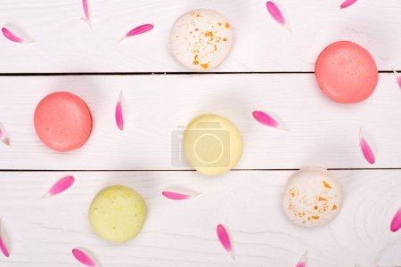 Macarons pattern with pink petals