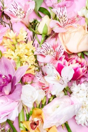 Photo for Close-up view of bouquet of beautiful various blooming flowers and buds - Royalty Free Image