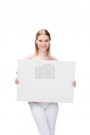 Photo for Young woman holding blank banner isolated on white - Royalty Free Image