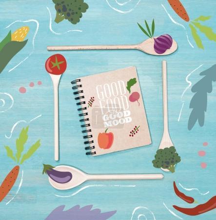 Photo pour Bonne humeur bonne nourriture, notion de régime - image libre de droit