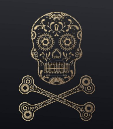 Sugar Skull day of the dead golden illustration with crossed bon