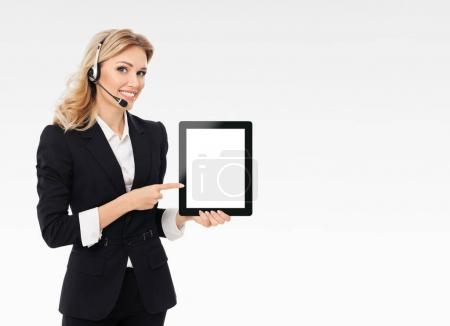 support phone operator showing blank no-name tablet pc monitor