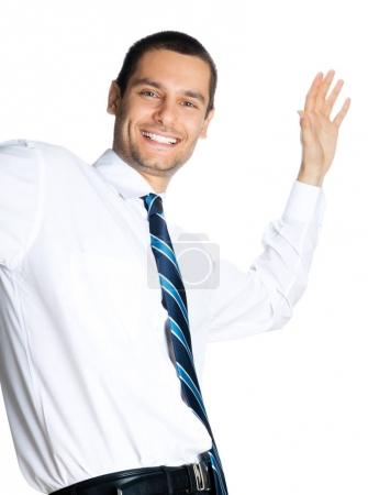 Happy businessman, on white