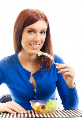 smiling woman with salad, isolated