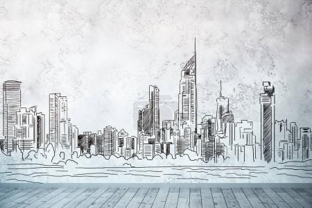 Interior with city sketch