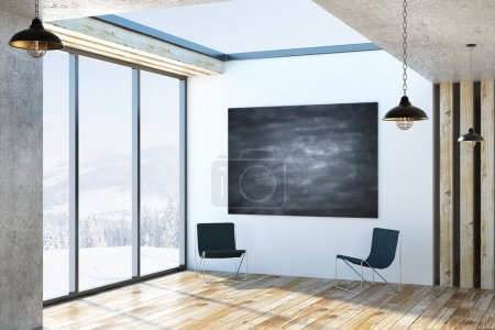 Modern interior with chalkboard poster