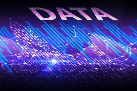 Photo pour Forex numérique abstrait avec le texte. Concept de l'économie et des finances. rendu 3D - image libre de droit