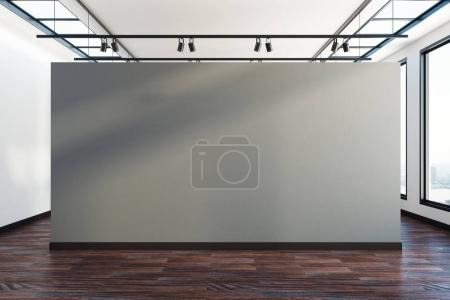Photo for Creative exhibition interior with empty banner and city view. Advertisement and gallery concept. Mock up, 3D Rendering - Royalty Free Image