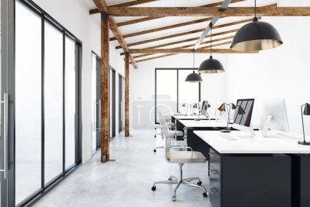 Photo for Contemporary coworking office interior with city view. Design and style concept. 3D Rendering - Royalty Free Image