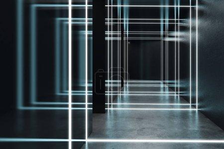 Abstract black futuristic interior