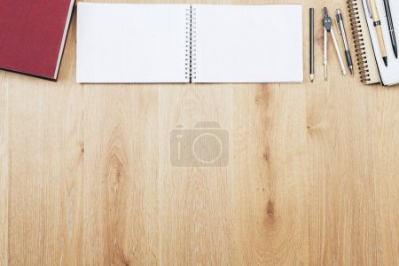 Wooden workplace with supplies