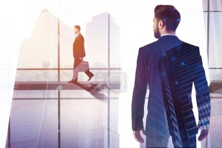Photo for Success and search concept. Businessman walking on abstract city background with copy space. Toned image. Double exposure - Royalty Free Image