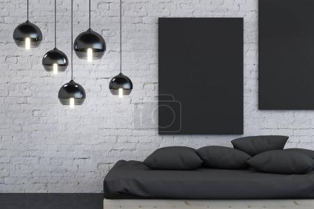 Hipster bedroom interior with poster