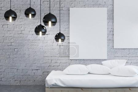 Contemporary bedroom interior with poster