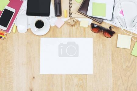 Contemporary desk top with tablet and supplies