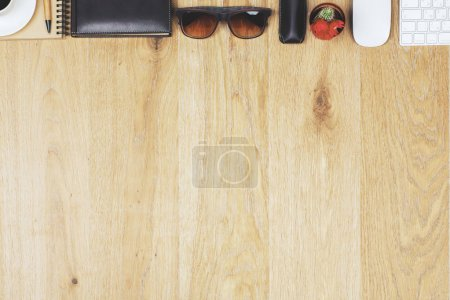 Wooden desk with items
