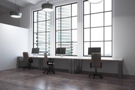 Photo pour Moderne de coworking intérieur de bureau avec vue sur la ville et de la lumière du jour. rendu 3D - image libre de droit