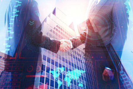 Photo for Side view of handshake on abstract city background with business hologram. Teamwork and global concept. Double exposure - Royalty Free Image
