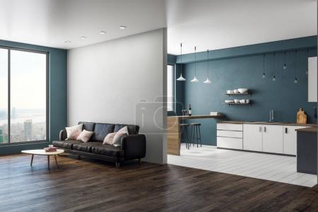 Photo pour Vue côté intérieur contemporain studio avec vue sur la ville, espace de la copie sur le mur et un meuble. rendu 3D - image libre de droit