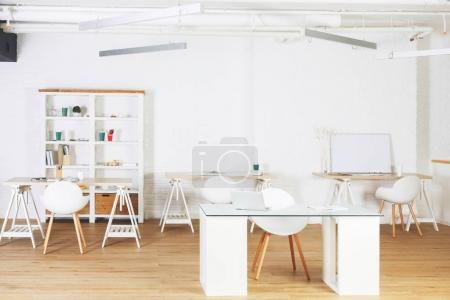 White office with workplace