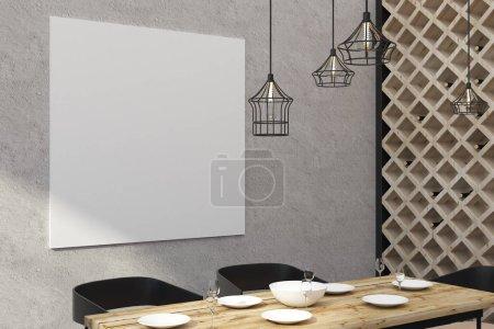 Modern restaurant with empty billboard