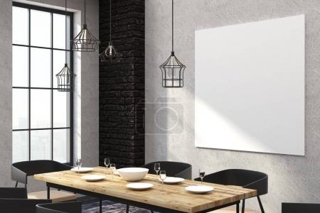Photo pour Restaurant intérieur moderne avec affiche vide sur mur en béton. Maquette, rendu 3D - image libre de droit